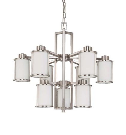 NUVO 60-3809 Nickel Chandelier - Show With Arms Down.