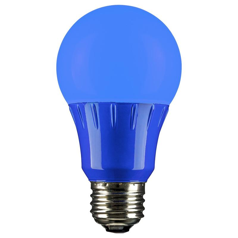 blue led a19 120 volt e26 medium base party light bulb not dimmable for use in dry locations