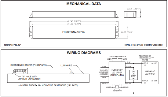 Mechanical Data and Wiring Diagram for LED Emergency Driver