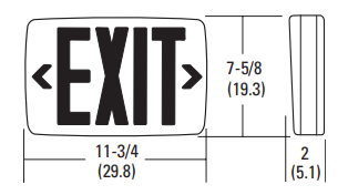 Lithonia LQM Exit Sign Dimensions
