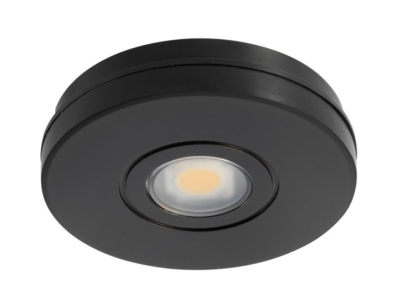 Juno lighting ustl1 30k 80cri bl black 12v led solo task led puck light 3000k black mozeypictures Gallery