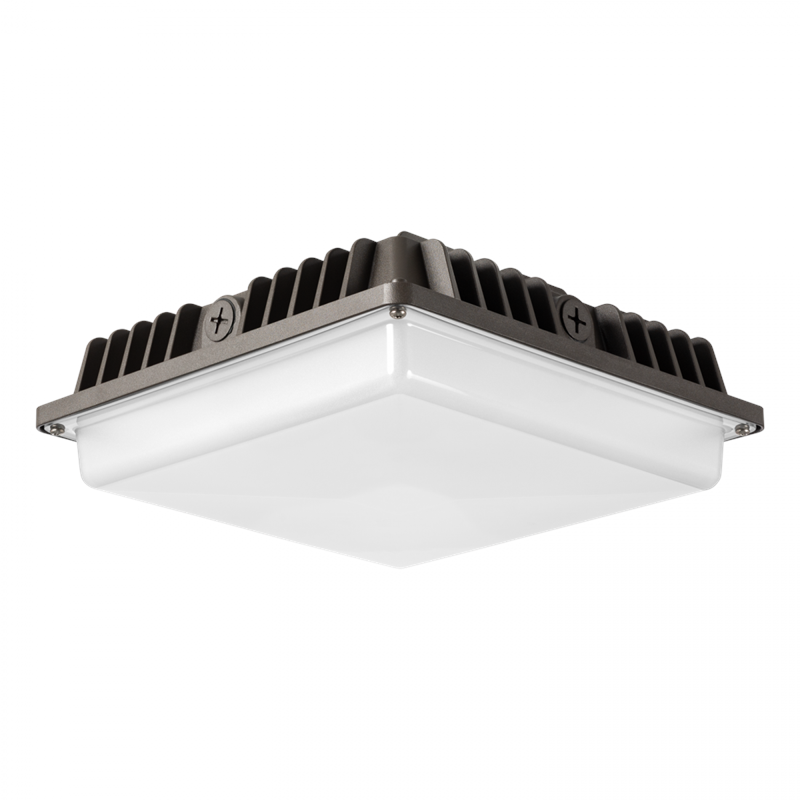 9.5 x 9.5 DLC Qualified ProjectLED 45W LED Canopy Light 4150 Lumen 45 Watt LED Replaces 150-200 Watt HID HPS Replacement UL Listed 5000K White Waterproof and Outdoor Rated