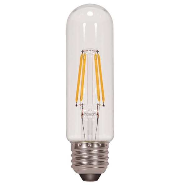 2x 4W T10 Tubular LED E26 Base Edison Style COB Led Filament Bulb 40W Equivalent