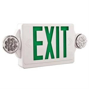 Lithonia LHQM LED Green Emergency Exit Sign/Lighting Combo