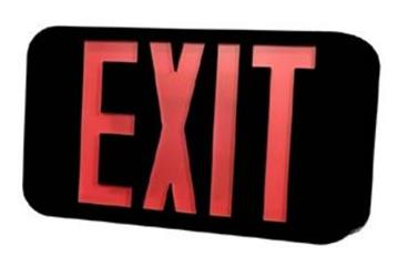 Morris LED Black Exit Sign with Battery Backup