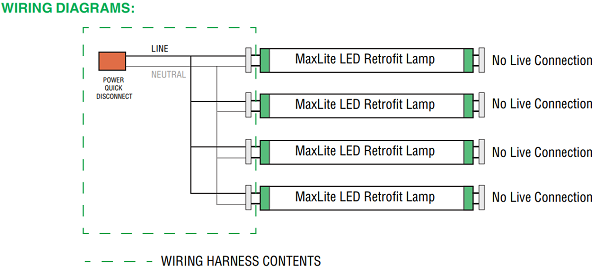 maxlite g13kit4 (1409029) four (4) socket t8 wiring harness non 8 Foot Fluorescent Light Wiring Diagram if your retrofit calls for more than four lamps, see related items below, for other configurations and some compatible tubes